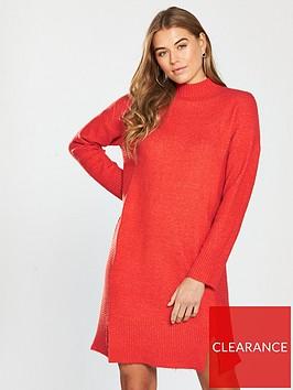 v-by-very-rib-detail-split-hem-slouch-knitted-jumper-dress-spicy-orange