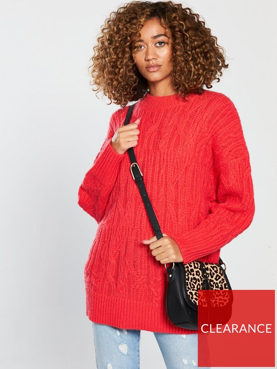 bee984d982e V by Very Cable Knit Longline Jumper - Poppy Red