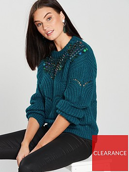 v-by-very-bead-and-sequin-embellished-pointelle-jumper-teal