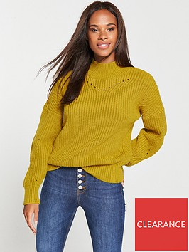 v-by-very-pointelle-detail-rib-funnel-neck-jumper-olive