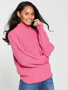 v-by-very-pointelle-detail-rib-funnel-neck-jumper-pink