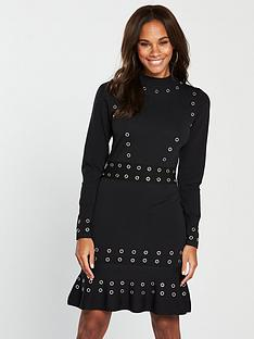v-by-very-peplum-hem-eyelet-detail-knitted-dress-black