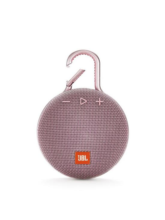 JBL Clip3 Wireless Bluetooth Ultra Portable and Rugged Speaker with  Integrated Clip and Up To 10 hours Playtime - Dusty Pink