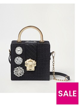 river-island-brooch-detail-box-bag-black