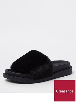 river-island-faux-fur-slide-black