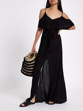 Ri Petite Petite Button Front Maxi Dress - Black