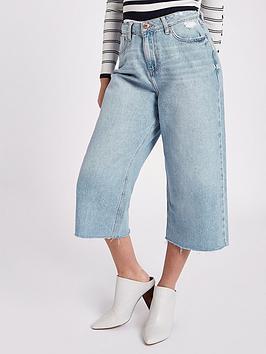 Ri Petite Alexa Wide Leg Cropped Jeans - Blue