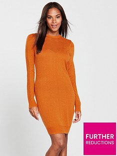 7518f9ab17 V by Very Mesh Panel Detail Knitted Dress - Spicy Orange