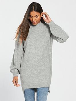 v-by-very-step-hem-turtleneck-slouch-longline-jumper-grey-marl