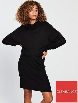 v-by-very-ribbed-skirt-slouch-roll-neck-knitted-dress-black