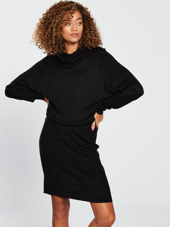 4503d5e1004c V by Very Ribbed Skirt Slouch Roll Neck Knitted Dress - Black   very ...