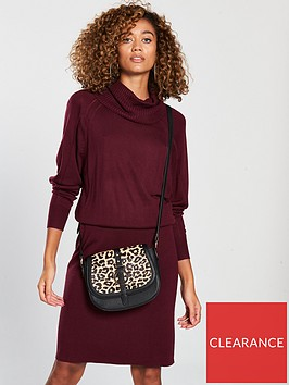 v-by-very-ribbed-skirt-slouch-roll-neck-knitted-dress-merlot