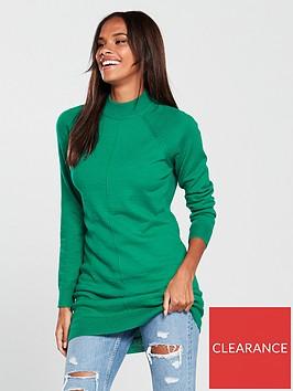 v-by-very-rib-hem-longline-jumper-peacock-green