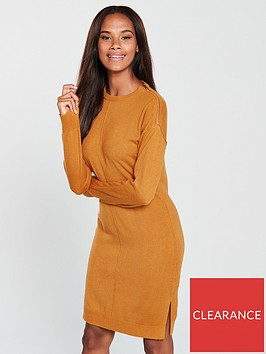 v-by-very-zip-shoulder-step-hem-knitted-dress-mustard