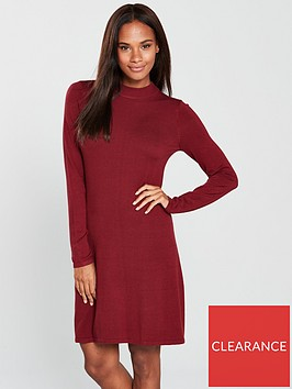 v-by-very-high-crew-neck-fit-and-flare-knitted-dress-claret