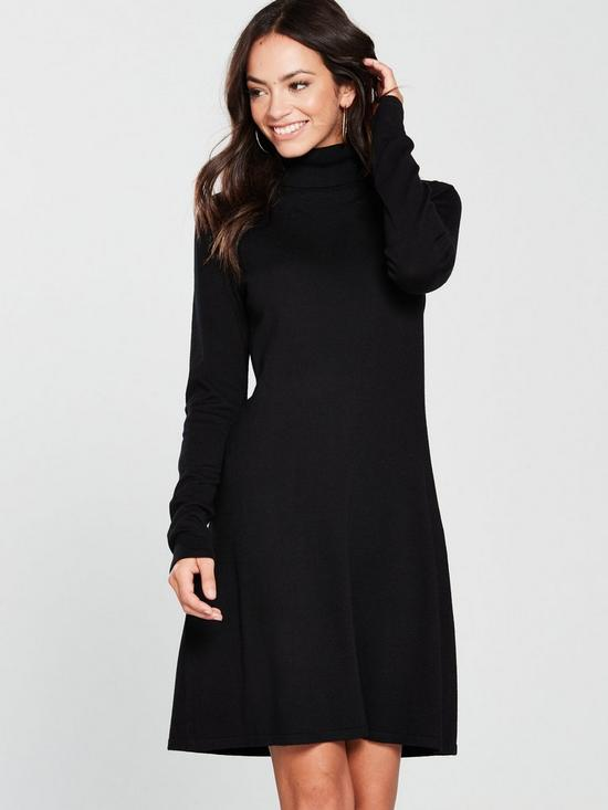 a47f06410111 V by Very Roll Neck Fit And Flare Knitted Dress - Black | very.co.uk