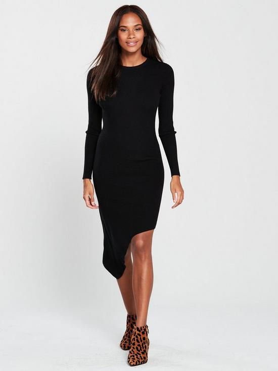 e277f30d553 V by Very Skinny Rib Asymmetric Hem Knitted Dress - Black
