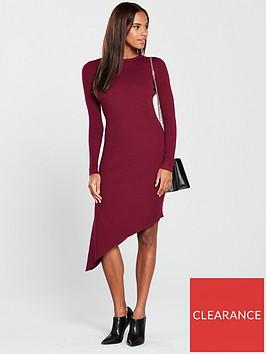 v-by-very-skinny-rib-asymmetric-hem-knitted-dress-claret