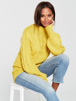 v-by-very-cable-knit-funnel-neck-jumper-saffron-yellow