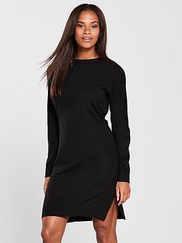 v-by-very-zip-shoulder-step-hem-knitted-dress-black