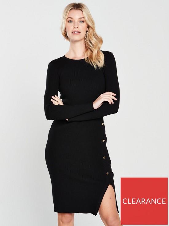 224e28b54d027d V by Very Skinny Rib Button Side Knitted Midi Dress - Black | very.co.uk