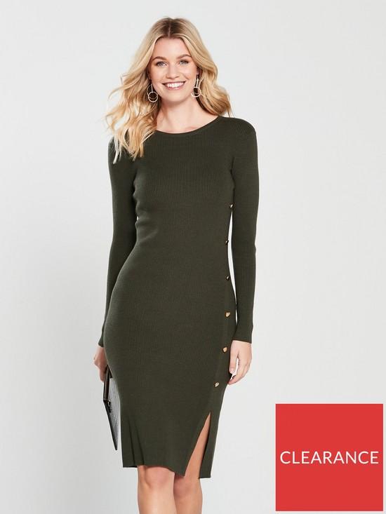 39a989904491 V by Very Skinny Rib Button Side Knitted Midi Dress - Khaki