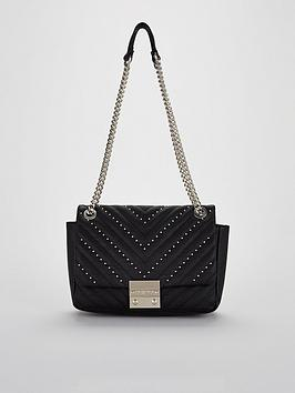 Carvela Binky Jewel Lock Velvet Shoulder Chain Handle Bag - Black