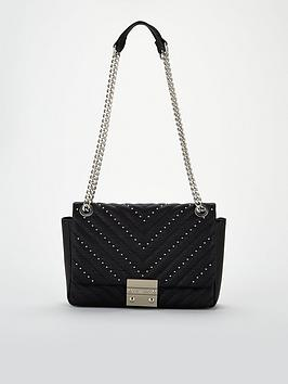 Carvela Bree Stud Quilt Shoulder Bag - Black