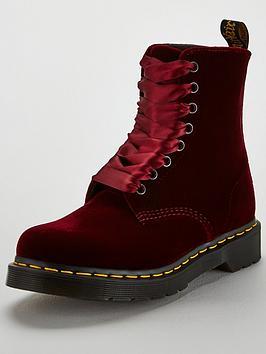 Dr Martens Pascal Velvet 8 Eyelet Ankle Boot - Cherry Red