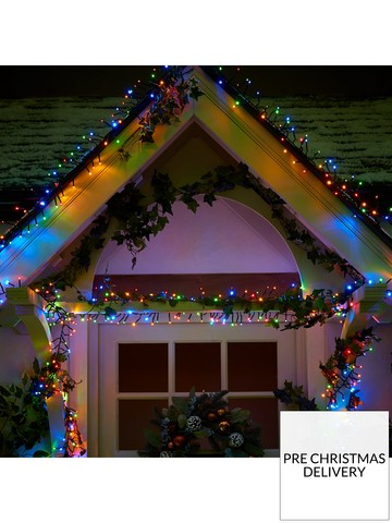 festive 720 multi functionnbspmulti coloured cluster indooroutdoor christmas lights with timer