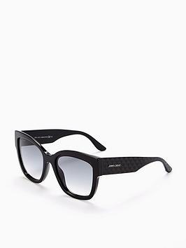 Jimmy Choo Jimmy Choo Black Rectangle Star Embossed Logo Arm Sunglasses