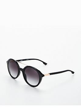 Hugo Boss Round Brow Bar Sunglasses - Black