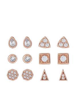 accessorize-pack-of-12-geometric-studs-rose-gold