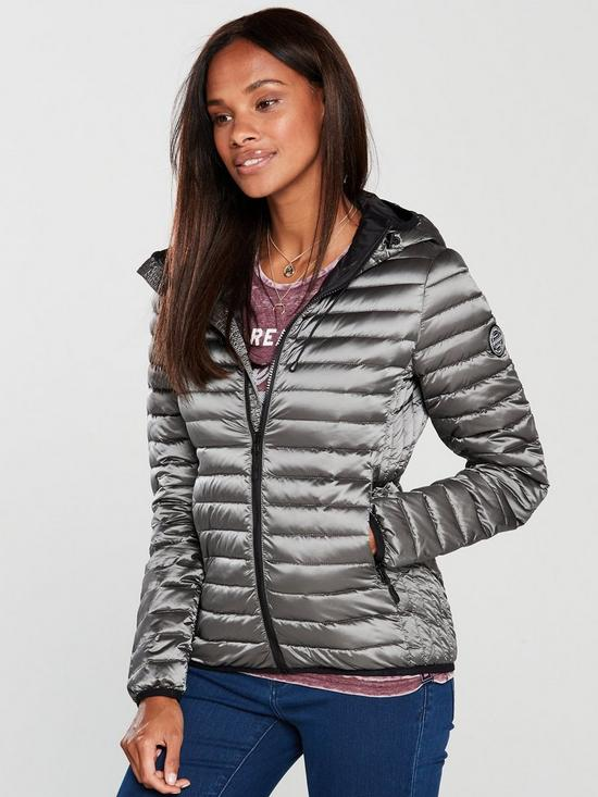 co uk Grey Jacket Very Core Superdry Hooded Down 0RWOnqY