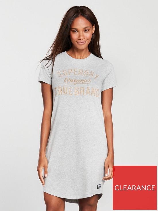 99913d664bac Superdry Embellished Slim T-Shirt Dress - Grey Marl | very.co.uk