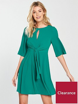 v-by-very-tie-front-dress-green