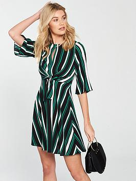v-by-very-stripe-tie-front-dress-printed