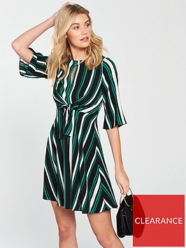 v-by-very-stripe-tie-front-dress-printed