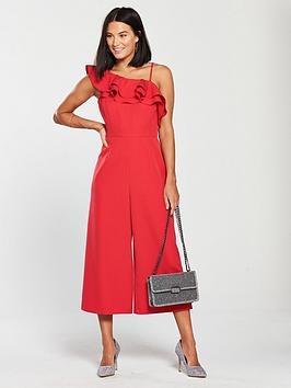 v-by-very-one-shoulder-ruffle-culotte-jumpsuit-red