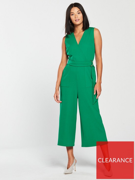 2bcb002cadc V by Very Wrap Wide Leg Jumpsuit - Green