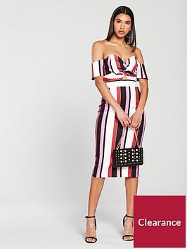 river-island-striped-bardot-dress-multi