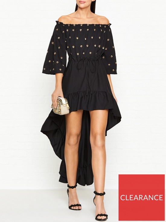 fec3ab1e662 SUNDRESS Alena Winter Off The Shoulder Frill Dress - Black