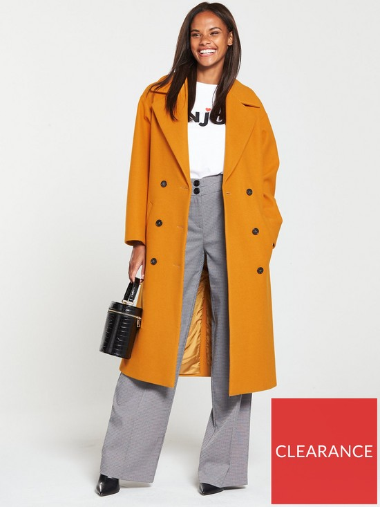 84038eb53ce V by Very Oversized Double Breasted Coat - Mustard