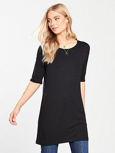 V by Very Pocket Three-quarter Sleeve Tunic - Black