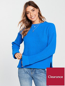 v-by-very-matt-chenille-turn-back-cuff-rib-jumper-blue