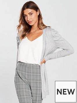 v-by-very-puff-shoulder-button-sleeve-cardigan-grey-marl