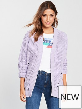 v-by-very-matt-chenille-cable-detail-cardigan-lilac