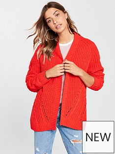 v-by-very-matt-chenille-cable-detail-cardigan-poppy-red