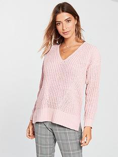 v-by-very-matt-chenille-v-neck-slouch-rib-jumper-dusty-pink