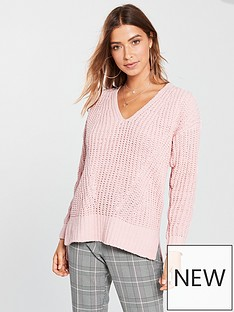 v-by-very-matt-chenille-v-neck-slouch-rib-jumper-dusty-pink